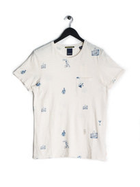 Scotch & Soda Ams Blauw All Print T-Shirt Off White