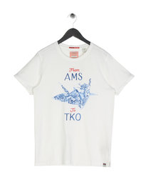 Scotch & Soda AMS Blauw Japanese T-Shirt Off White