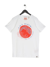 Scotch & Soda AMS Blauw Japanese T-Shirt White