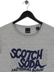 Scotch & Soda Amsterdam Blauw Graphic T-Shirt Grey