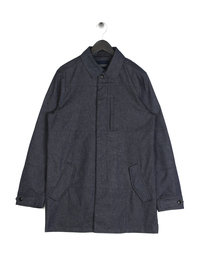 Scotch & Soda Coated Denim Trench Coat Blue