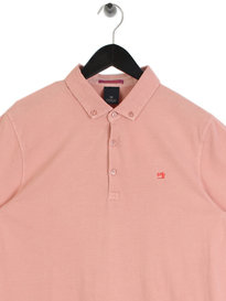 Scotch & Soda Garment Short Sleeve Dyed Jersey Polo Pink