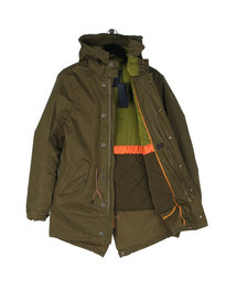 Scotch & Soda Long Hooded Parka Green