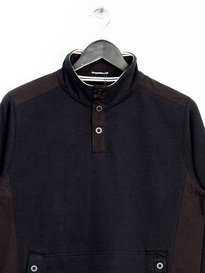 WEEKEND OFFENDER ESHTON BUTTON NECK SWEAT TOP BLACK