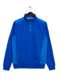 WEEKEND OFFENDER ESHTON BUTTON NECK SWEAT TOP BLUE
