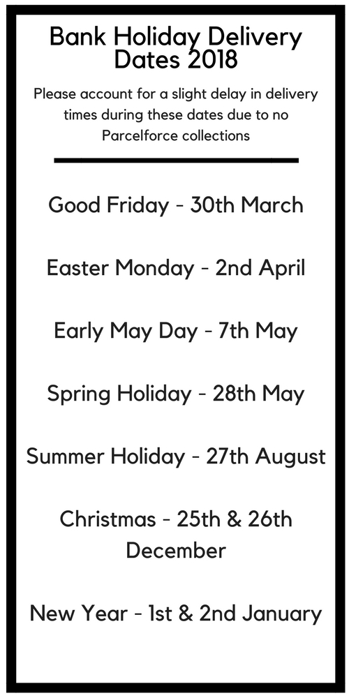 Xile Bank Holiday Delivery Dates