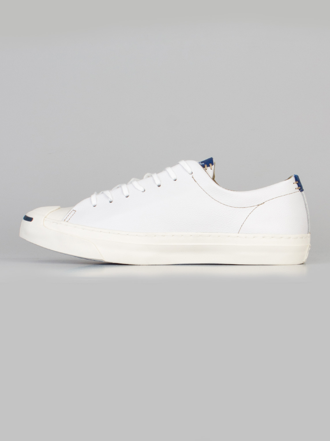 0b715304f428 ... Jack Purcell logo embossed in white and a contrasting blue leather heel  panel. The logo is also on the reverse of the heel in cream with a chunky  cream ...